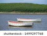 Landscape Of White Rowing Boat...