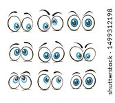 cartoon eyes. happy and angry... | Shutterstock .eps vector #1499312198
