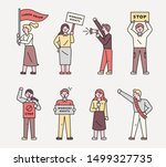 people who picket protest for... | Shutterstock .eps vector #1499327735