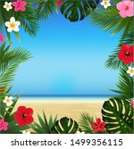 tropical beach and flowers with ... | Shutterstock .eps vector #1499356115