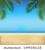 tropical beach with sea and... | Shutterstock .eps vector #1499356118