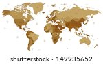 detailed world map of brown... | Shutterstock . vector #149935652