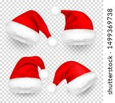 christmas santa claus hats with ... | Shutterstock .eps vector #1499369738