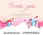 thank you text in hand... | Shutterstock .eps vector #1499454002