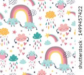 cute seamless pattern with... | Shutterstock .eps vector #1499457422