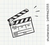 movie clapperboard doodle icon. ... | Shutterstock .eps vector #1499462555