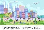 city panorama flat vector...   Shutterstock .eps vector #1499491118