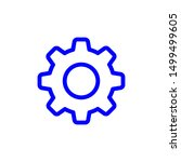 blue setting flat icon vector ...