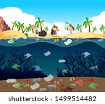 water pollution with plastic... | Shutterstock .eps vector #1499514482