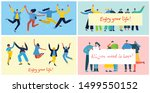 concept of young people jumping ...   Shutterstock .eps vector #1499550152