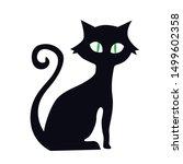 Halloween Cat  Flat  Vector...