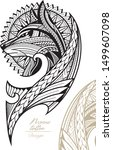 wolf in maori tattoo style for...   Shutterstock .eps vector #1499607098