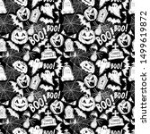halloween holiday chaotic hand... | Shutterstock .eps vector #1499619872