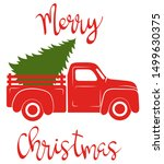 Red Pickup With Christmas Tree. ...