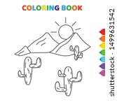 cute cartoon mountains  sun and ... | Shutterstock .eps vector #1499631542