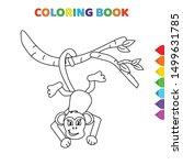 cute cartoon monkey hanging... | Shutterstock .eps vector #1499631785