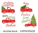 set of red pickups with... | Shutterstock .eps vector #1499650628