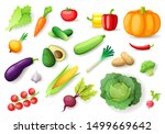 colorful fresh vegetables set... | Shutterstock .eps vector #1499669642