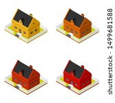 set of isometric bungalows flat ... | Shutterstock .eps vector #1499681588