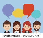 brainstorming people concept in ... | Shutterstock .eps vector #1499692775
