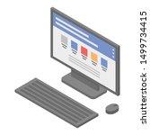 lab pc desktop icon. isometric... | Shutterstock .eps vector #1499734415