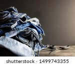 Pile Of Old Blue Jeans Ready...