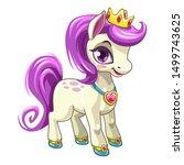 little cute cartoon pony... | Shutterstock .eps vector #1499743625
