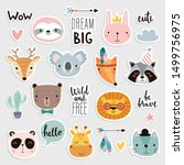 cute boho animals set. hand... | Shutterstock .eps vector #1499756975