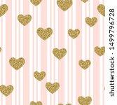 gold glittering confetti hearts ... | Shutterstock .eps vector #1499796728