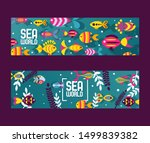 Stock vector fish abstract colorful sea creatures vector illustration banners for pet shop or zoo website 1499839382