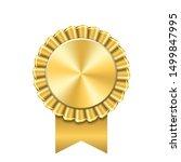award ribbon gold icon. golden... | Shutterstock . vector #1499847995