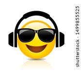 cool emoji with headphones ... | Shutterstock .eps vector #1499855525