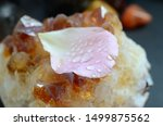 Stock photo water drops on a rose petal on top of a citrine crystal cluster pink rose petal golden healing 1499875562