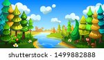 fairytale cartoon forest with... | Shutterstock .eps vector #1499882888