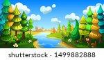 fairytale cartoon forest with... | Shutterstock .eps vector #1499882888