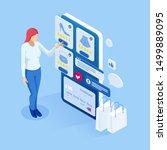 isometric online shopping  sale ... | Shutterstock .eps vector #1499889095