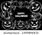 halloween design template. hand ... | Shutterstock .eps vector #1499896925
