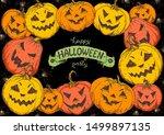 halloween design template. hand ... | Shutterstock .eps vector #1499897135