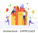 online reward   group of happy... | Shutterstock .eps vector #1499911625
