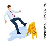 isometric caution wet floor... | Shutterstock .eps vector #1499947298