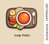 tomato cream soup. top view... | Shutterstock .eps vector #1499961185