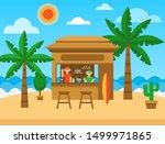 beach bar. exotic summer... | Shutterstock .eps vector #1499971865