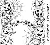 halloween design template. hand ... | Shutterstock .eps vector #1499980355