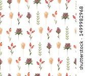 watercolor  wildflower floral... | Shutterstock . vector #1499982968