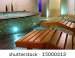 Spa relax room with couches, sauna, hydromassage and turkish bath - stock photo