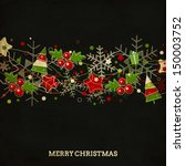 vintage christmas card with... | Shutterstock .eps vector #150003752