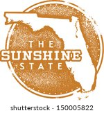Florida USA Sunshine State Travel and Vacation Rubber Stamp