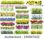 Stock photo summer flowers bed and floral borders set collage all full size images you can find in my portfolio 150007622