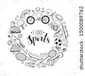 sport doodle vector poster... | Shutterstock .eps vector #1500089762