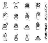 cactus icons on a white... | Shutterstock .eps vector #1500186698